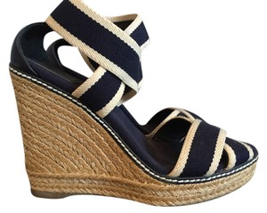 Tory Burch Navy and White Wedges