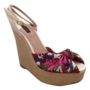 Joan & David Platform Floral Ankle Strap Espadrille White Wedges