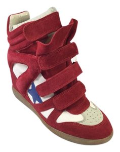 Isabel Marant Bayley Sneakers Applique Red Wedges