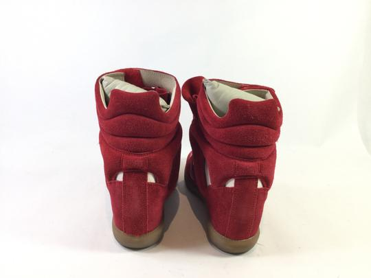 Isabel Marant Bayley Sneakers Applique Suede Red Wedges
