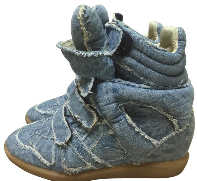 Isabel Marant Blue Denim Eans Wedge High Top Sneakers Size EU 38 (Approx. US 8) Regular (M, B) Isabel Marant Blue Denim Eans Wedge High Top Sneakers Size EU 38 (Approx. US 8) Regular (M, B) Image 1