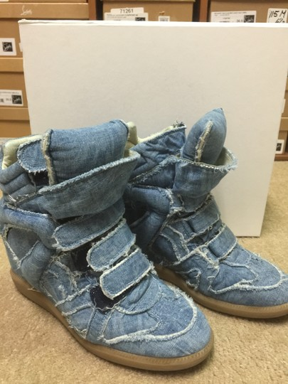 Isabel Marant Sneakers Denim Hidden Platform Wedge Jean Jeans High Top Luxury Blue Athletic