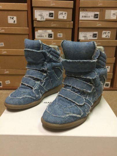 Isabel Marant Sneakers Denim Wedge Blue Athletic Image 5