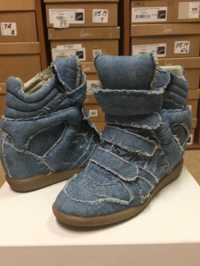 Isabel Marant Sneakers Denim Wedge Blue Athletic Image 8