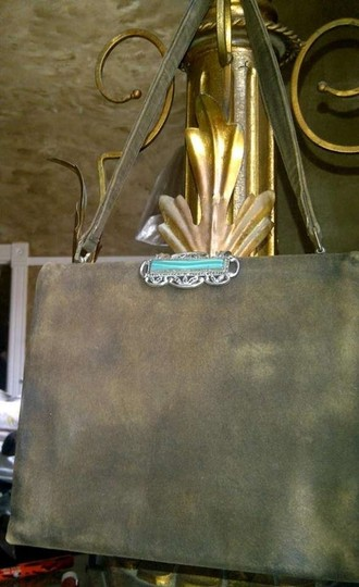Other Evening Moleskin Art Deco Classic Retro Satchel in olive