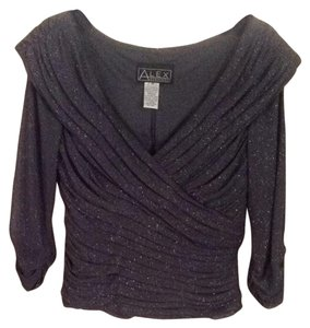 Alex Evenings Top Gray With Silver Metallic
