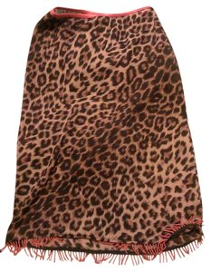 XOXO Animal Print Fringe Hem Evening Skirt browns