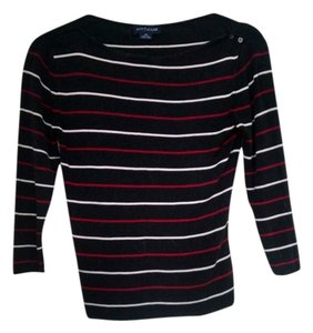 Ann Taylor Silk Top Black with Red and White Stripes