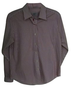 Brooks Brothers Striped Button Down Shirt White with Red Stripes