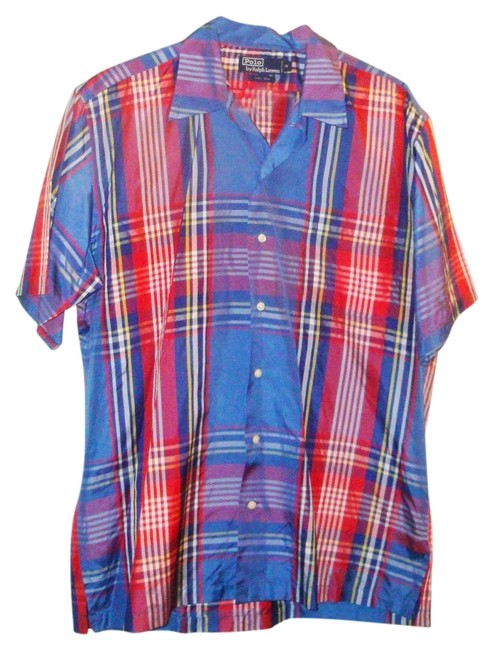 Preload https://item3.tradesy.com/images/polo-ralph-lauren-multicolor-blue-red-white-yellow-plaid-silk-taffeta-short-sleeve-button-down-top-s-3881437-0-0.jpg?width=400&height=650