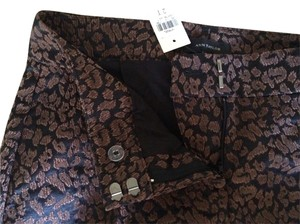 Ann Taylor Jacquard Leopard Tall Trouser Straight Pants brown/black