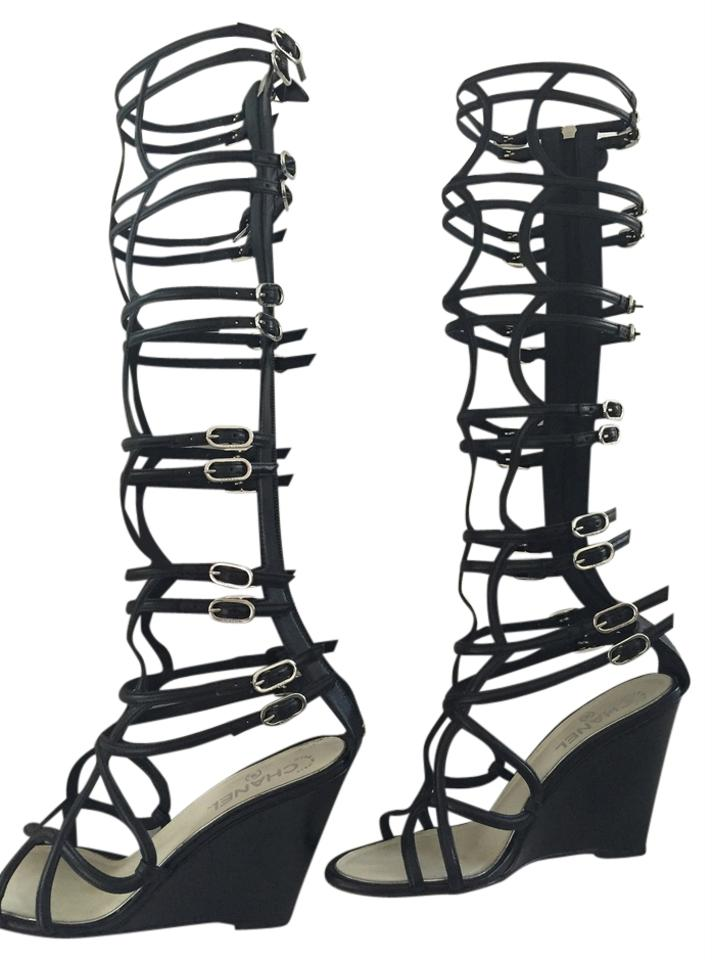 97c27affa6 Chanel Gladiator Exclusive Couture Strappy Knee High Black Wedges Image 0  ...
