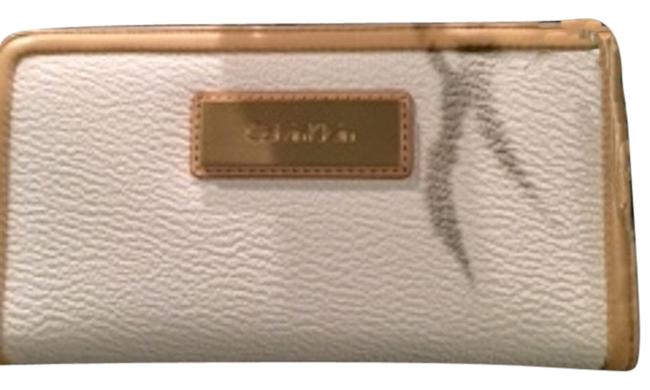 Item - White and Tan Zip Around Continental In Wallet