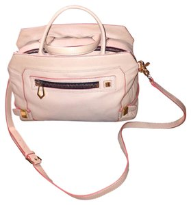Botkier Leather Gold Hardware Dust Card Detachable Strap Satchel in Beige