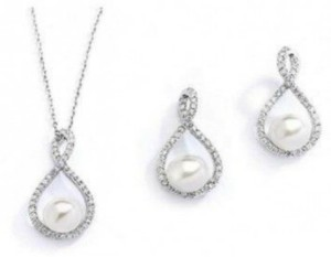 Mariell Eternity Symbol Cz And Pearl Jewelry Set