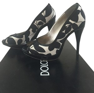 Dolce&Gabbana Floral Platform Satin Black & White Pumps