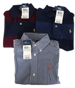 Polo Ralph Lauren Set Of 3 Long Sleeve All 100% Cotton (1) Blue/darkblue Rugby Style 2 Button Collared Shirt (1) Blue/maroon Rugby Style Button Down Shirt