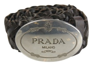 Prada Prada Woven Leather Belt - 100/40 - Brown