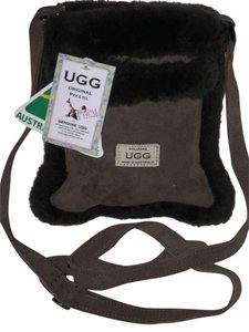 UGG Australia Uggs Boots Purse Chocolate Chocolate Suede Shearling Fur Hand Chocolate Handbag Purse Cross Body Bag