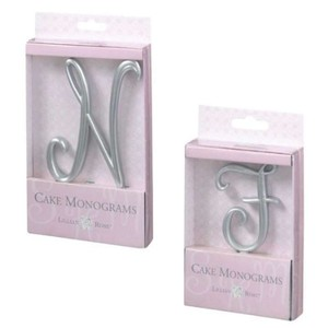 """Lily McNeal Silver """"P"""" Lillian Rose Cake Topper"""