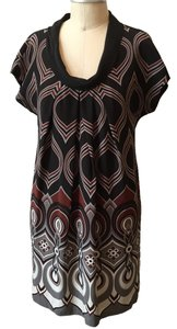 Tibi short dress Black/gray/brick red Designer Silk Ombre Black & White Shift Mini Geo Print on Tradesy