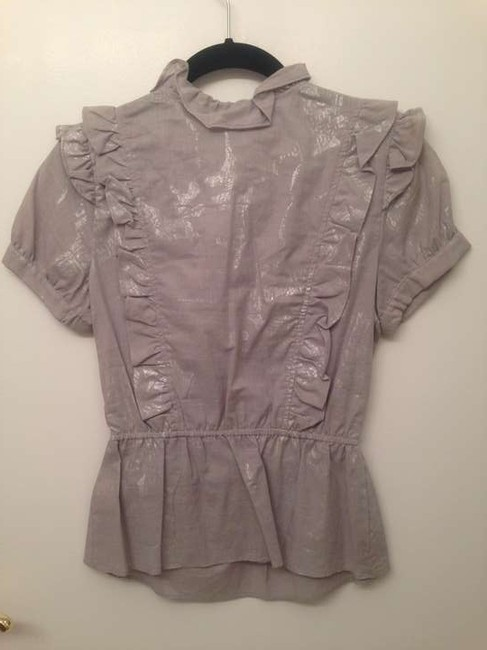 Twelfth St. by Cynthia Vincent Ruffle Cotton Dryclean Only Top Gray / Metallic