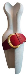Donna Karan Ferrari Red & Gold Oversized Large Donna Karen Leather Belt