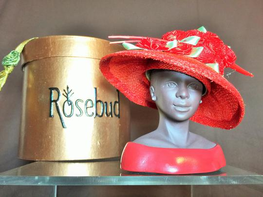 "Other "" Red"" Sculpture by Harriet Rosebud ; Red Sinamay With Flowers #3111 ( 5.5""h ) [ SisterSoul Closet ]"