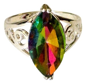 New Rainbow Topaz 925 Silver Plated Ring Size 9 J975