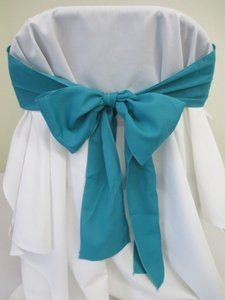 25 Turquoise Polyester Chair Sashes