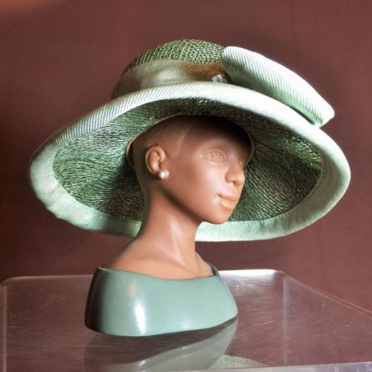 "Other "" The Derby "" Sculpture by Harriet Rosebud ; Sage Green Sinamay with Silk Trim #3105 ( 5.5""h ) [ SisterSoul Closet ]"