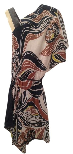 Rozae Nichols short dress White / Navy / Brown / Green Design Silk Mini Leather on Tradesy