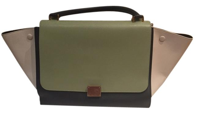 Céline Trapeze Tricolor Teal Beige Dark Gray Leather Shoulder Bag Céline Trapeze Tricolor Teal Beige Dark Gray Leather Shoulder Bag Image 1