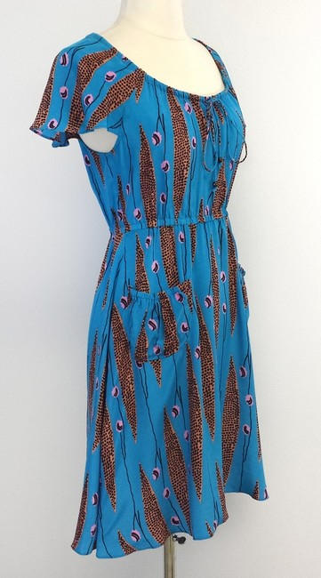 Plenty by Tracy Reese short dress Teal & Coral Print Silk on Tradesy