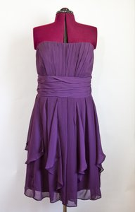David's Bridal Plum F14169 Dark Purple Strapless Knee Length Layered Skirt Dress