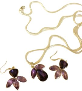 Other Sterling Silver & Amethyst Necklace & Earring Set