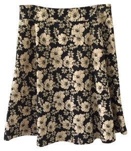 Gap Skirt Black and White Floral A-line