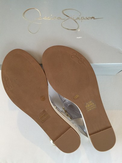 Jessica Simpson Never Worn Ivory with gold hardware Sandals