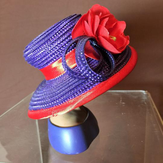 "Other "" Lady of Distinction "" Sculpture by Harriet Rosebud ; Purple and Red Straw Hat with Red Flower # ( 5""h ) [ SisterSoul Closet ]"