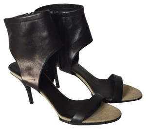 Vince Leather Zip Ankle Cuff Heel Black Sandals