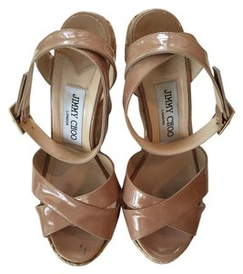 Jimmy Choo Leather Nude patent Wedges