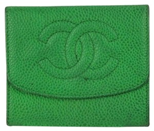 Chanel [ENTERPRISE]Green Caviar CC Logo Walet CCWLM8