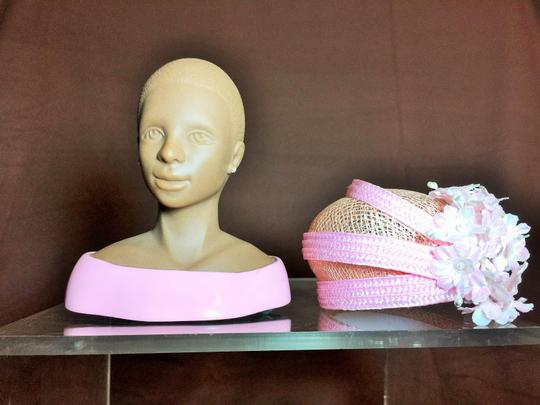 """Other """" Sister Moore """" Sculpture by Harriet Rosebud ; Pink Sinamay Hat With Pink Pearl Flowers #3107 ( 5.5""""h ) [ SisterSoul Closet ]"""