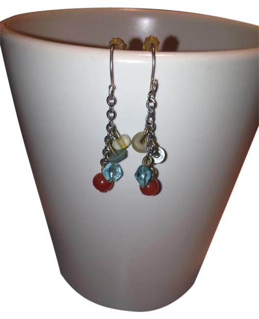 Item - Blue Red Bead Dangle Earrings