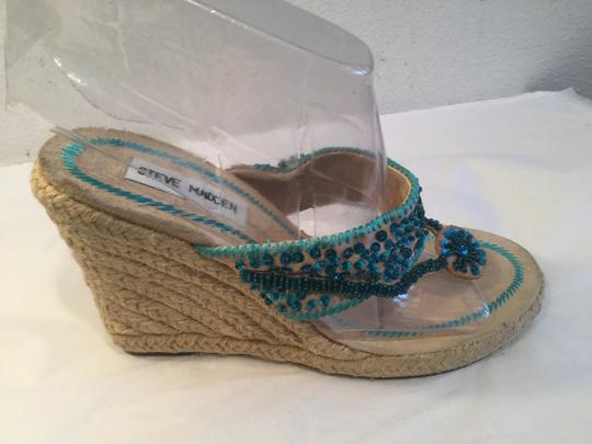 Steve Madden Blue and cream Wedges