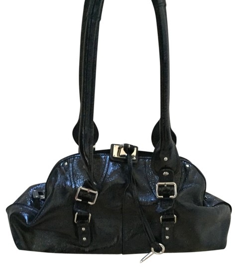 High Fashion Patent Leather Satchel in Black