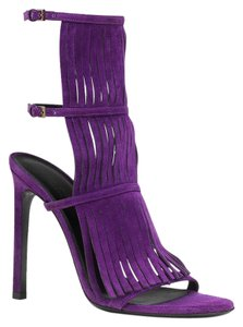 Gucci Suede Fringe High Heel Purple Sandals