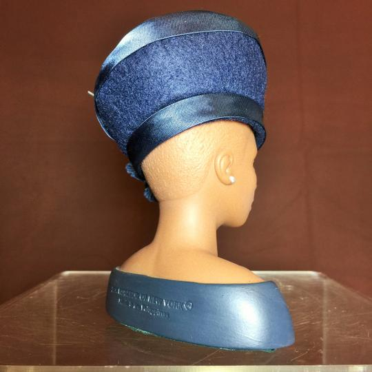 "Other "" Third Sunday ""Sculpture by Harriet Rosebud ;Navy Blue Hat with Satin Trim and Flower #3114 ( 5""h ) [ SisterSoul Closet ]"