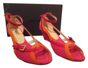 Prada Fuchsia and Mandarin Wedges
