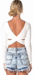 Tobi Crisscross Strap Crop Fitted Detail Open Back Top White